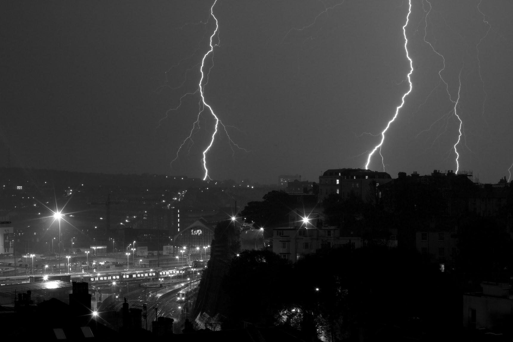 Lightning over Brighton station