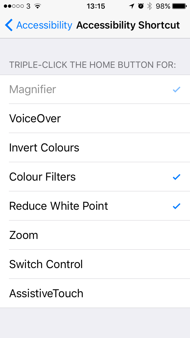 iOS accessibility shortcut settings